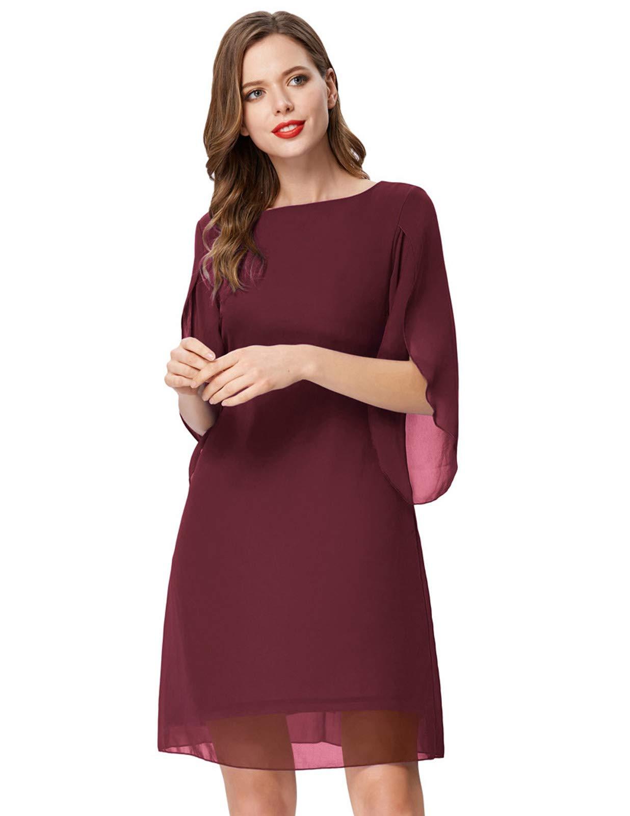 Women Summer Chiffon Dress Split Sleeve Prom Party Midi Dress Plus Size Red  XXL