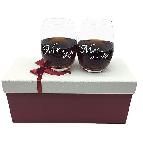 Amazon Com Mr And Mrs Wine Glasses Set Of 2 Stemless Wine Glass