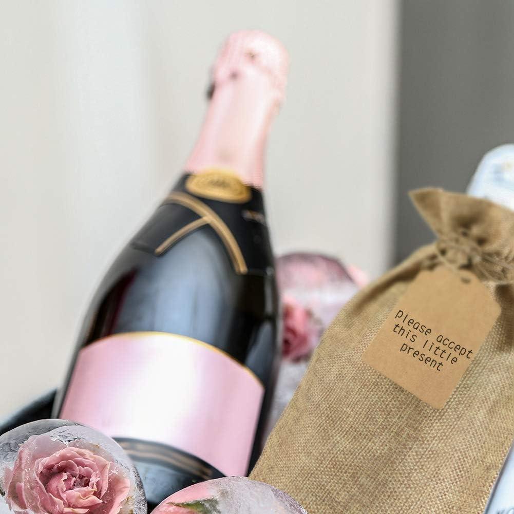 12 St/ück Tragbarer Flaschenverpackung mit Kordelzug und Kraftpapier Etiketten f/ür Hochzeit Geschenke Party Decor Hanf Farbe Irich Baumwolle Flaschenbeutel