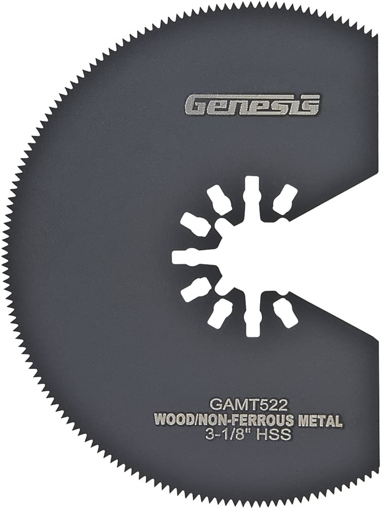 "Genesis GAMT522 Universal Quick-Fit 3 1/8"" HSS Segmented Oscillating Multi-Tool Quick-Release Flush Saw Blade"