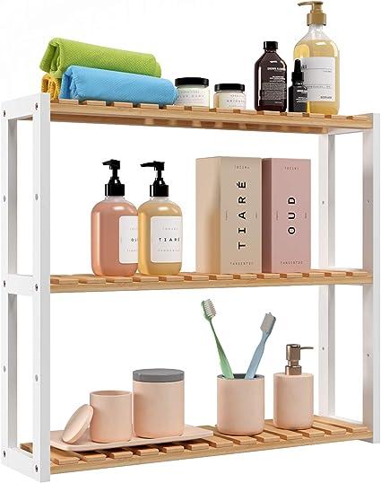 Homfa Estantería Baño Pared Estantería de Bambú Organizador Colgante para Baño Salón o Cocina con 3 Estantes Blanco y Natural 60x15x54cm