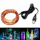 JIAEN LED Fairy Copper String Lights USB Connect 10m/100leds for Decorative (Natural White)