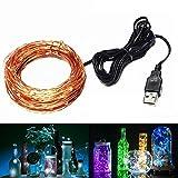 JIAEN LED Fairy Copper String Lights USB Connect 10m/100leds for Decorative (Natural White)