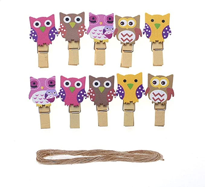WSERE Wood Owl Shape Photo Paper Clips Holder Mini Decorative Clothespins Photography Backdrop Clip with 5ft Jute Twine 30 Pieces Style E