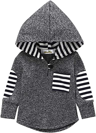 Toddler Infant Baby Boys Striped Hoodie Pocket Sweatshirt Pullover Tops Clothes