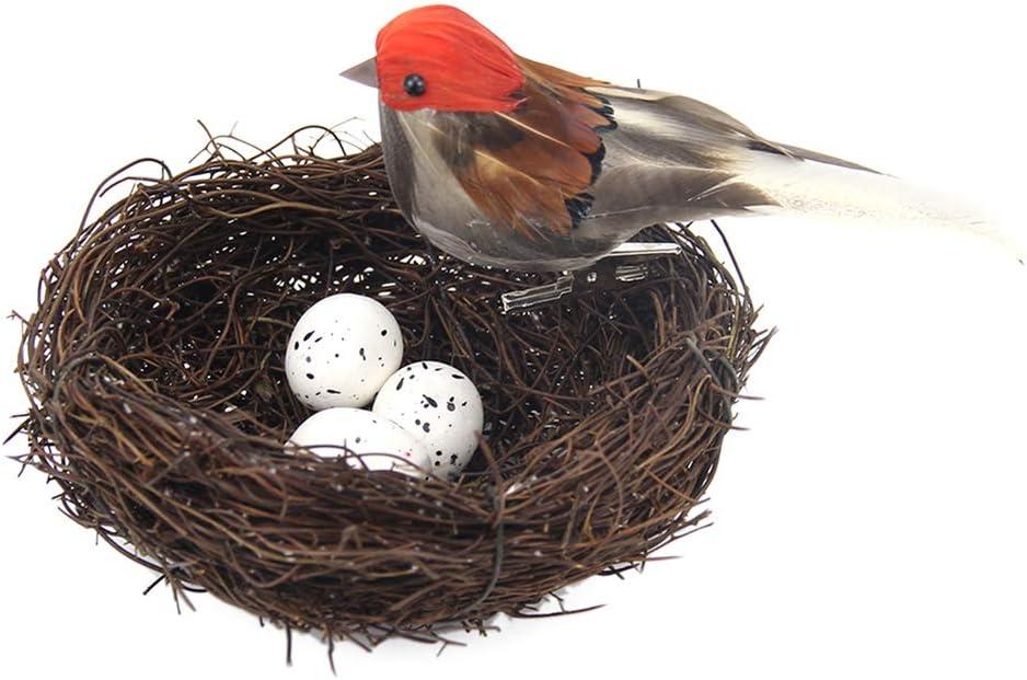 Amosfun 5 Piezas de Nido de pájaro Artificial y Huevos de Plumas de Ave estatuilla Falso pájaro Adorno decoración para niños Dormitorio de niños