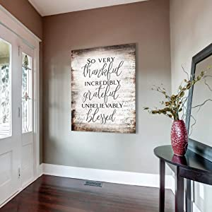 Sense of Art | So Very Thankful Forever Grateful Unbelievably Blessed Quote V13 | Wood Framed Canvas | Ready to Hang Family Wall Art for Home Decoration