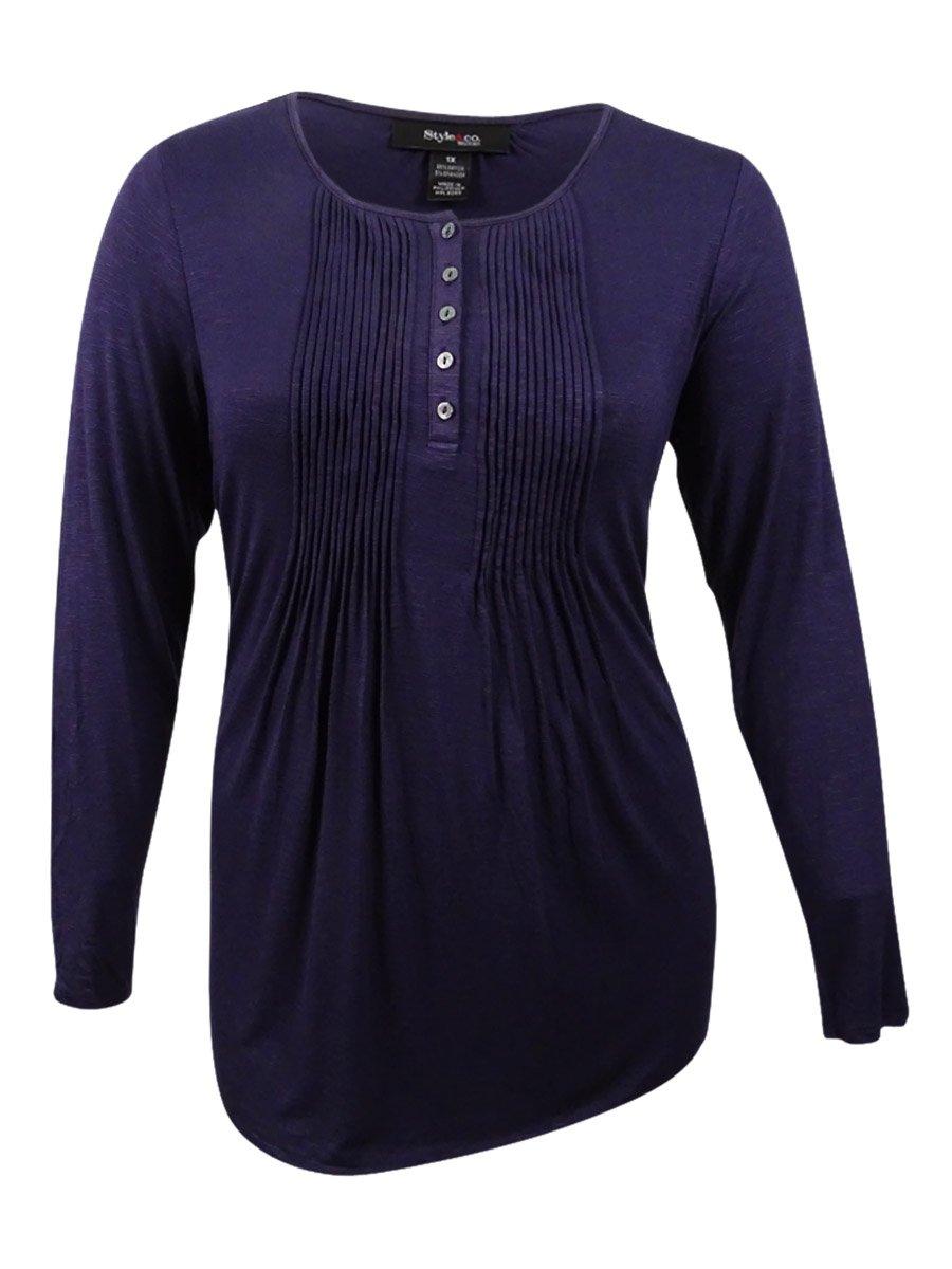 Style & Co. Womens Plus Pintuck Slub Henley Top Purple 1X
