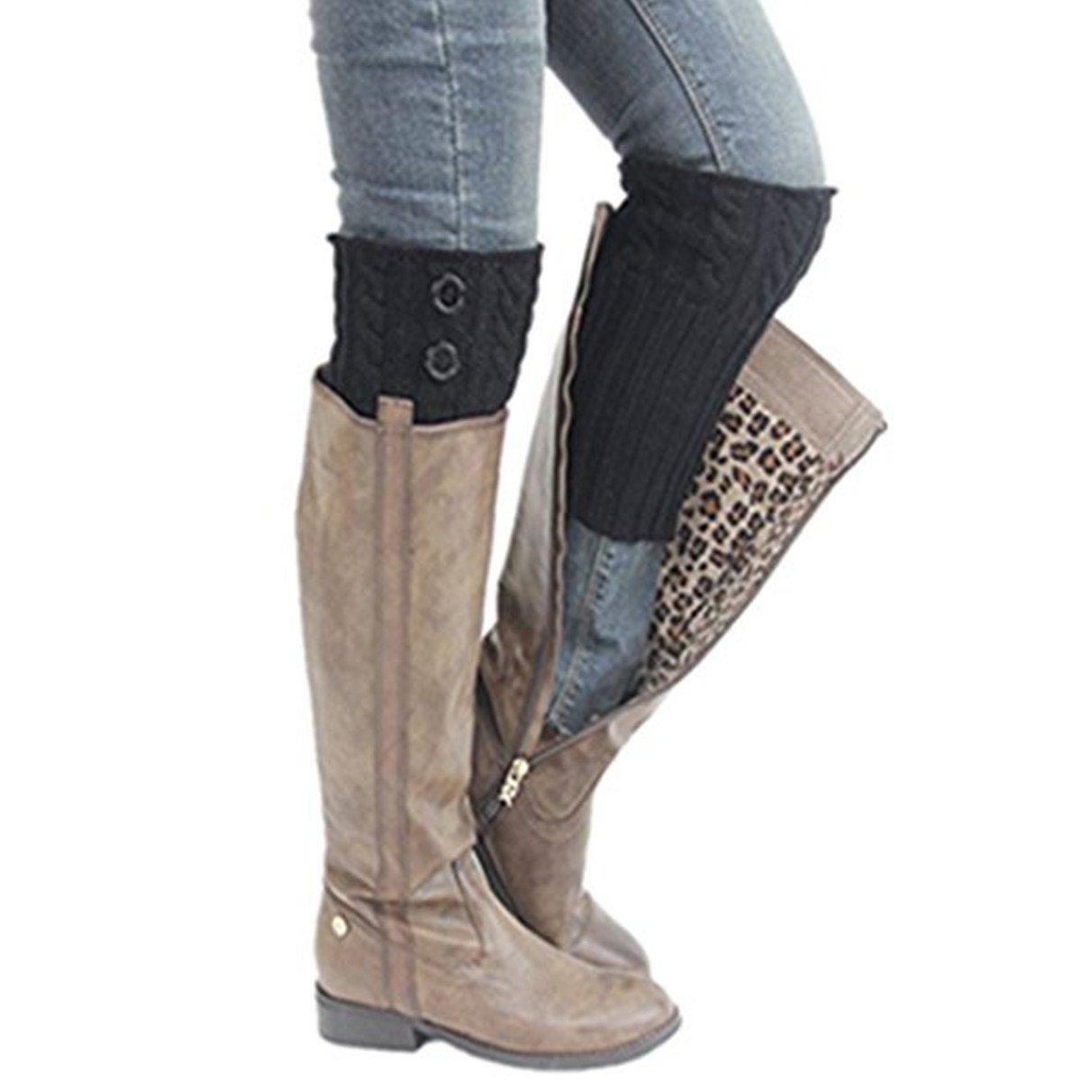Clearance! E-Papaya 2016 Women's Buttons Leg Warmer Knit Boot Socks Topper Cuff (Black)