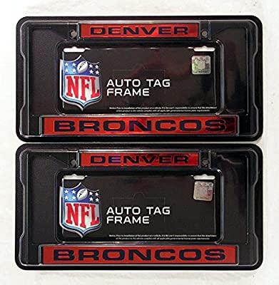 Denver Broncos Black Metal (2) Laser License Plate Frame Set