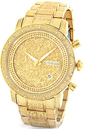 JOJINO 1.05ct Real Diamond Watch Mens Deluxe Gold Tone Case Diamond Band - Diamond Chronograph Bracelet