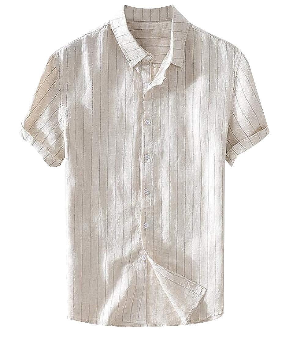 YUNY Men Short-Sleeve Casual Buttoned Turn-Down Collar Striped Woven Shirt AS1 XS