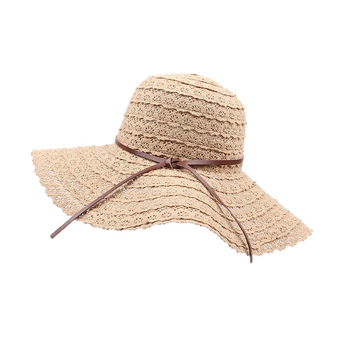 CZ Summer Beach Sun Hat Anti-UV UPF 50+ Foldable Wide Brim Bucket Hat for Women 0722943111376