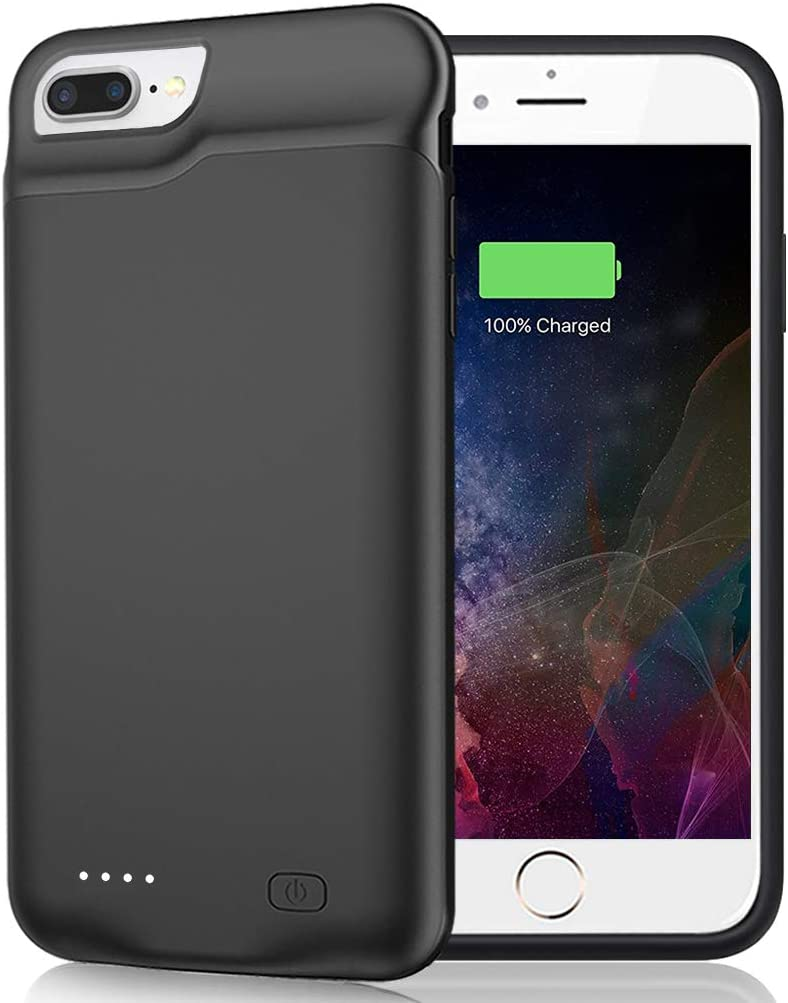 Battery Case for iPhone 8 Plus/7 Plus/6 Plus/6s Plus, 6500mAh Portable Rechargeable Battery Pack Charging Case Made for iPhone 6s Plus/6 Plus/7 Plus/8 Plus (5.5 inch) External Charger Case-Black