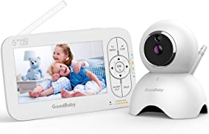 """GOODBABY Real 720P 5"""" HD Display Video Baby Monitor with Camera and Audio, Remote Pan&Tilt&Zoom, Two-Way Talk,Temperature Monitor, Night Vision, Lullaby Player, 960ft Range"""