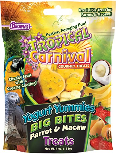 Macaw Bird Treats (Tropical Carnival F.M. Brown's Yogurt Yummies Big Bites Parrot & Macaw Treats, Training Treats Made with Hand-Selected Fruits, 4oz)