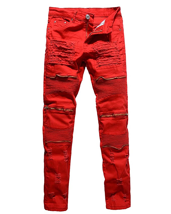 Herren Biker Jeans Stretch Denim Hose Slim Fit Zipper Zerrissen Jeanshosen
