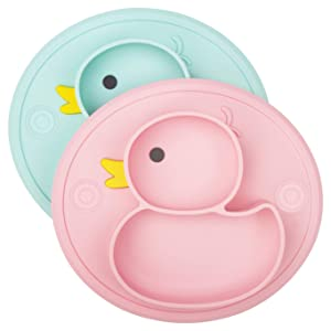 Silicone Divided Toddler Baby Plates - Portable Non Slip Suction Plates for Children Babies and Kids BPA Free Baby Dinner Plate