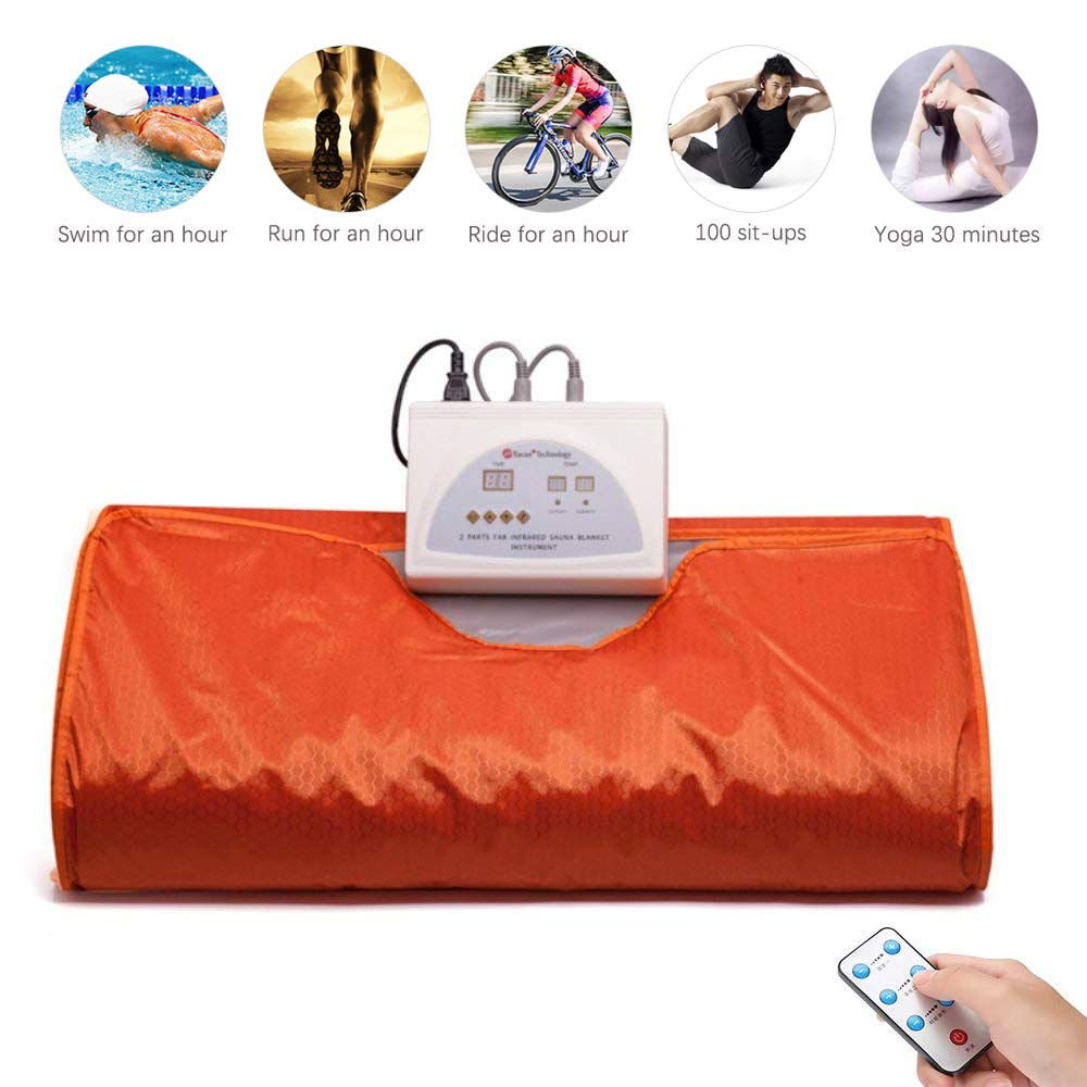 Uttiny Far Infrared Sauna Blanket, 70.8×31.4 Inches 110V 2 Zone Waterproof Detoxification Blanket with Safety Switch Used As Home Sauna for Body Shape Slimming Fitness