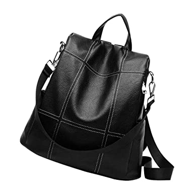 4fe0989afb78 Amazon.com  Women Backpack Purse Waterproof PU Leather Anti-theft Rucksack  Fashion School Shoulder Bag Black  Clothing