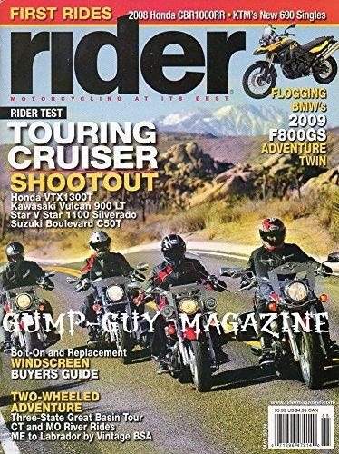 Rider Magazine May 2008 TOURING CRUISER SHOOTOUT: HONDA VTX1300T, KAWASAKI VULCAN 900 LT, STAR V STAR 1100 SILVERADO, SUZUKI BOULEVARD C50T Bolt-On Replacement Windscreen Buyers Guide FIRST RIDES - Honda 750 Cruiser