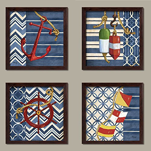 Anchor's Away! Coastal Anchor, Steering Wheel, Buoys, and Nautical Flags; Coastal Décor, Four 12 by 12-Inch Brown Framed Prints Ready to hang! Red/White/Blue