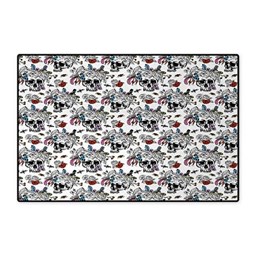 - Day of The Dead,Doormat,Sugar Skull with Flowers Pattern Vintage Rose Bouquet and Bees Retro Print,Bath Mat for Tub,Multicolor 24