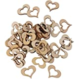 PANYTOW Blank Hollow Wooden Heart Embellishments Crafts 30mm