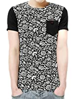 Allegra K Men Crew Neck Chest Pocket Floral Tee