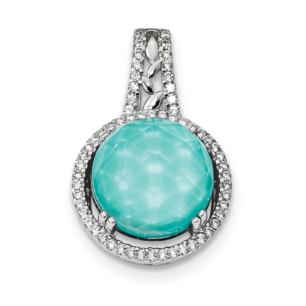 Lex /& Lu Sterling Silver w//Rhodium CZ and Synthetic Turquoise Pendant