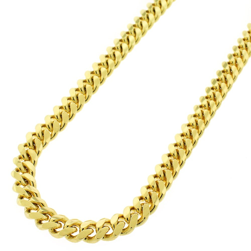 Sterling Silver 7mm Miami Cuban Curb Link Thick Solid 925 Yellow Gold Plated Chain Necklace 24 - 32'' (26)