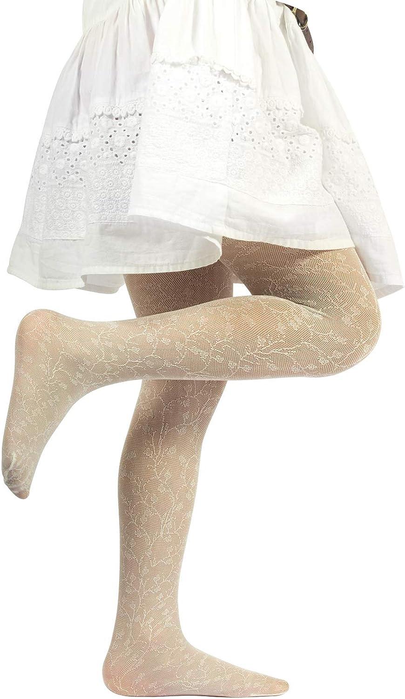 Beige 40 Den CALZITALY Collant Bambina Fantasia Floreale Blu Made in Italy Bianco Calze Bimba In Pizzo Con Fiori
