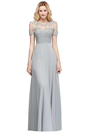 83e9ea0e463 MisShow A-Line Lace Appliques Pearl Beading Long Formal Prom Dress at Amazon  Women s Clothing store
