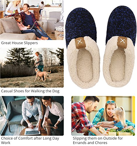 Wool Foam Memory House Indoor amp; Royal Lined Slippers Men's Blue Plush Comfort Like ULTRAIDEAS Outdoor Fleece Shoes PqEXvtP