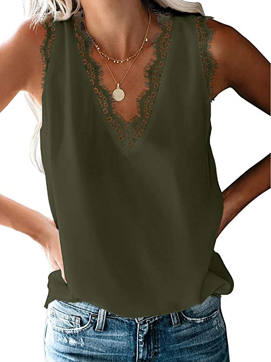 Womens V Neck Lace Trim Tank Tops