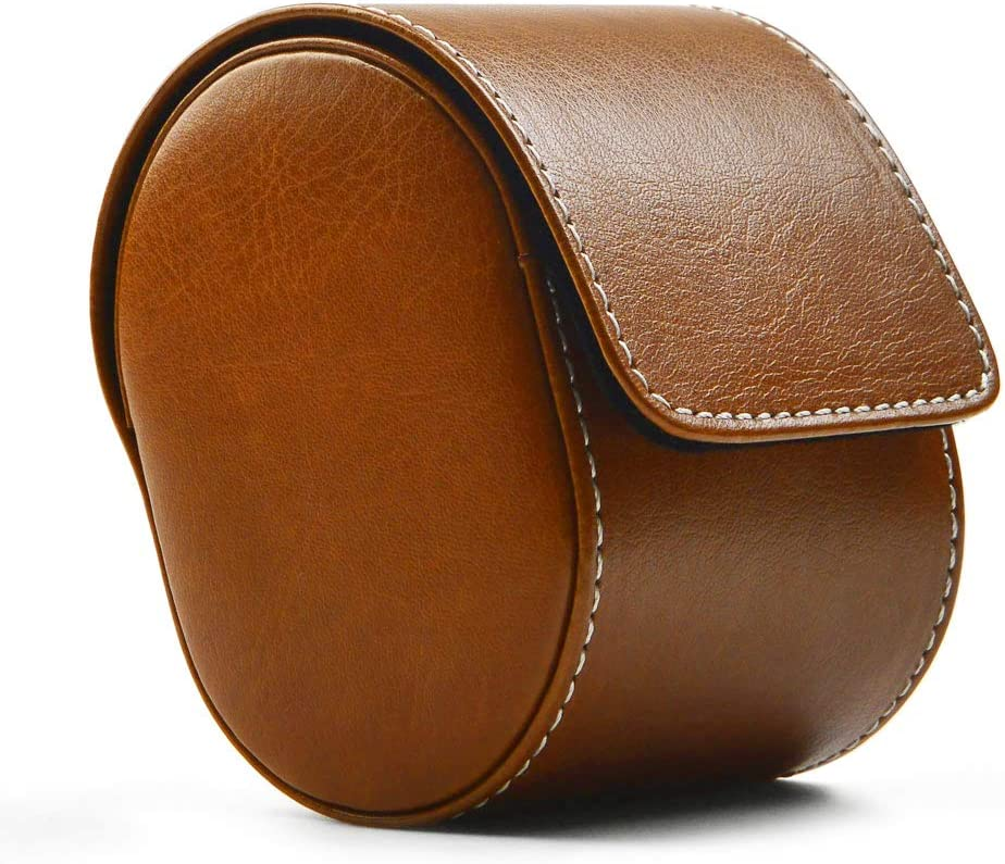 Oirlv Luxury Leather Watch Storage Box Travel Single Watch Case Watch Gift Box for Christmas Anniversary Birthday(Brown)