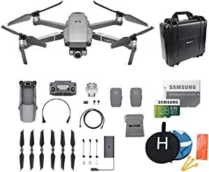 DJI Mavic 2 Zoom Drone Quadcopter Bundle with 2 Batteries, Waterproof Hard Carrying Case, Landing Pad, 128GB SD Card Supports 4K Video