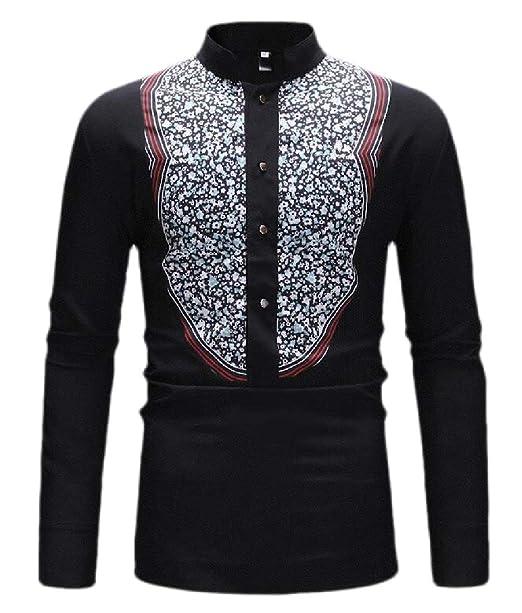 HANA+DORA Mens Casual African Print Shirt Dashiki Long Sleeve Tribal Button Down Shirts