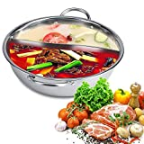 Hot Pot Cooker, 30/32/34cm Thickness Two Flavor Separation Induction Cooker Stainless Steel Hot Pot Induction Hob Shabu Shabu Soup Cooking Pots (30cm)