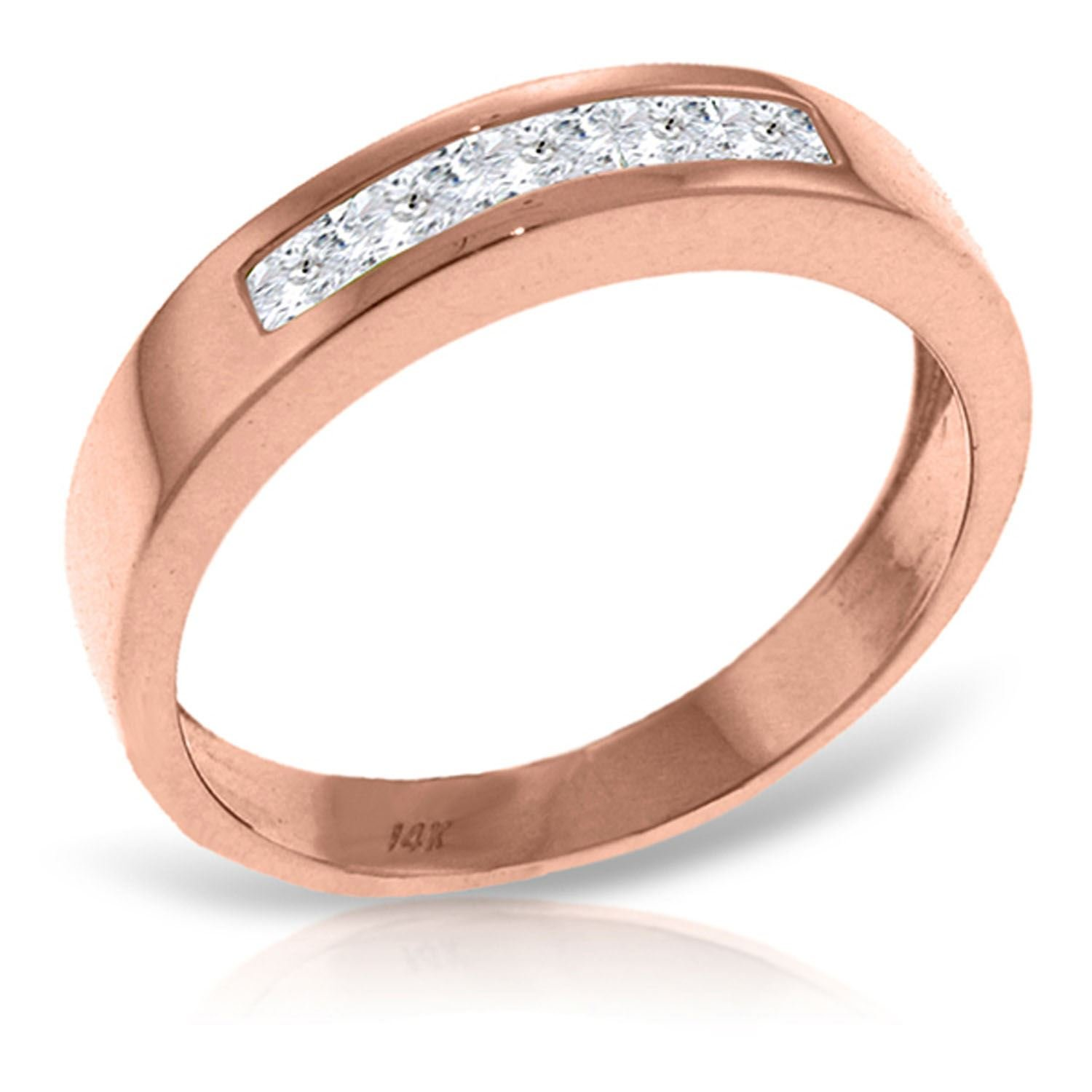 ALARRI 14K Solid Rose Gold Rings w/ Natural Rose Topaz With Ring Size 8