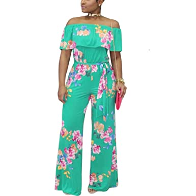 f65e90146cce Women Sexy Floral Off the Shoulder High Waist Wide Leg Jumpsuit Romper  Style 5 S