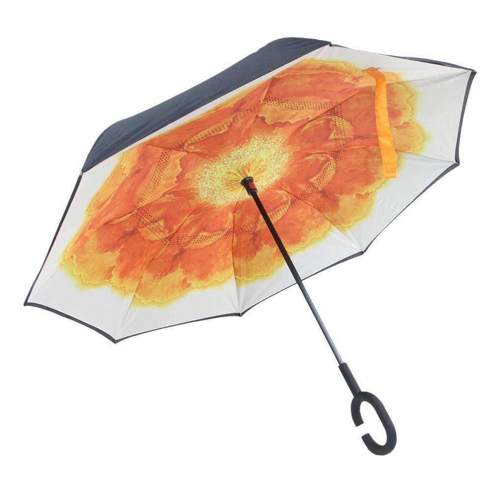 sunronal Parapluie Inversé Double Couche Coupe-Vent Parapluie Anti-UV Parasol Mains Libres poignée en Forme C pour Voiture et Voyage