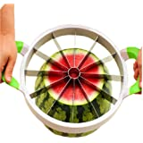 Kangkang@ Stainless Steel Cutter Large Fruit Apple and Hami Melon Slicer Watermelon Slitting Machine Artifact Creative Large Size Fruit Corer Melon Slicer Random Color Handle(14.7*11*1.3'')
