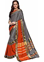 Indian Beauty Women's Cotton Silk Saree With Blouse Piece(Grey_Free Size)