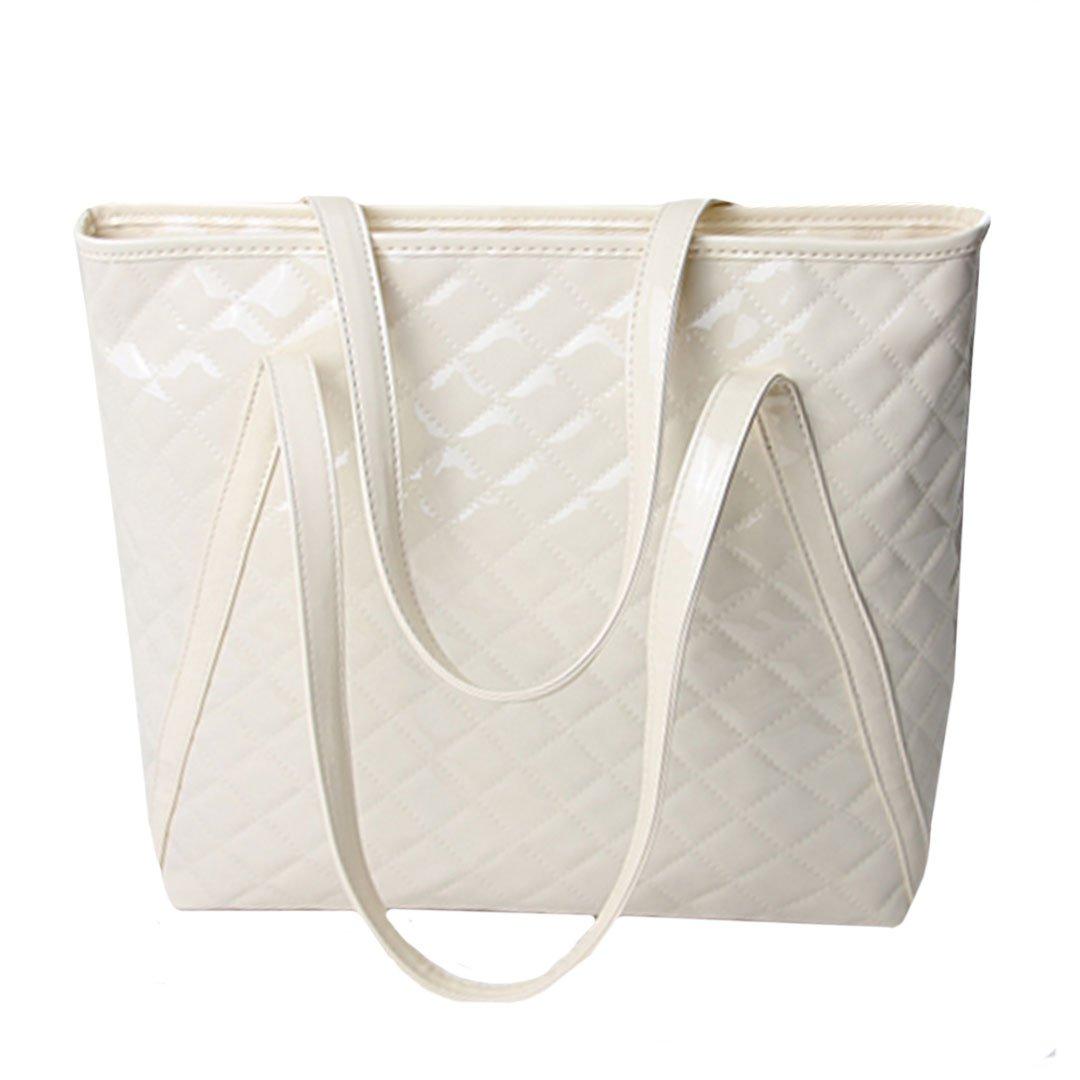 Aisa Women Fashion Top Handle Satchel Handbags Plaid Patent Leather Shoulder Bag Large Capacity Tote Bag (Beige)