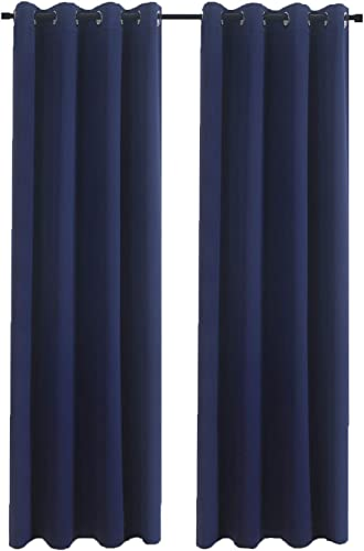Aquazolax Blackout Curtains for Living Room Window Thermal Insulated Blackout Curtain Panels 52 by 95 Inch Window Draperies for Kitchen, 1 Pair, Navy Blue