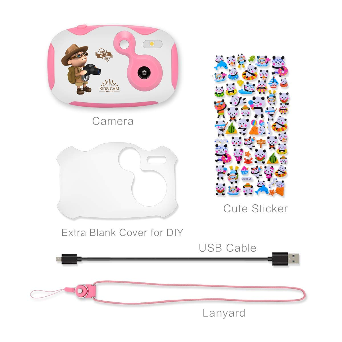 DishKooker 1.44 inch Digital Video Camera for Kids 1080P HD Sports Learn Mini Camera Camcorder for Boys Girls Pink by DishKooker (Image #1)