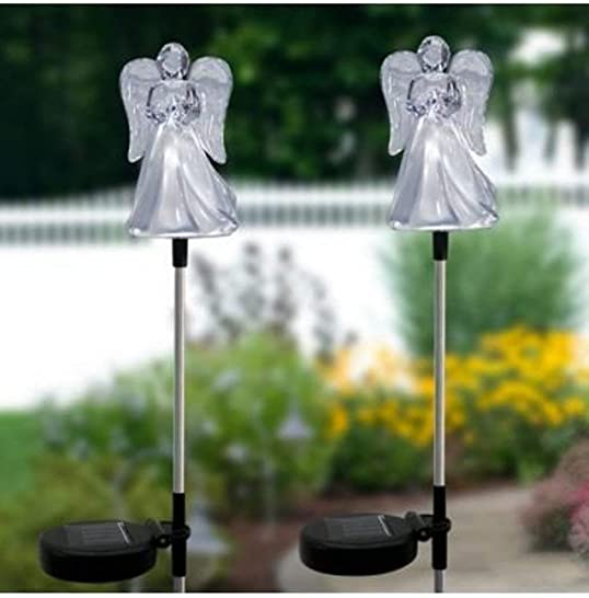 Exquisite Selebrity Set of 2 Clear Acrylic Solar Garden Decorations Outdoor Yard Art Lawn Ornaments Patio Lights Stick Color Change LED Light ARCYLIC Angel