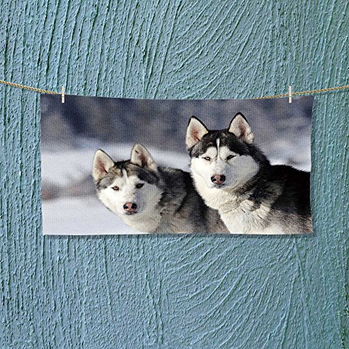 vanfanhome Photo Or Text Image DIY Personalized Custom Towels/Hand Towel Acrylic for Beach, Pool or Bath! Unisex towels!(a portrait of a siberian husky)