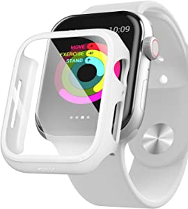 PZOZ Watch Case Compatible Apple Watch Series 5 / Series 4 44mm with HD Tempered Glass Screen Protector Accessories Matte Hard Bumper Cover Defense for Women Men iWatch (White)